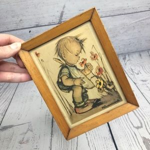 Small Hummel Framed Print- Boy Smelling Flowers